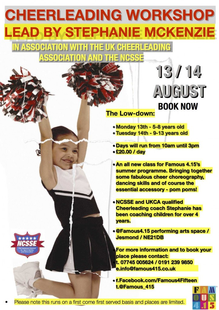 Famous 4.15, dance, dancing, singing, sing, act, drama, acting, professional, cheerleading, workshop, workshops, book now, UK Cheerleading Association, NCSSE, programme