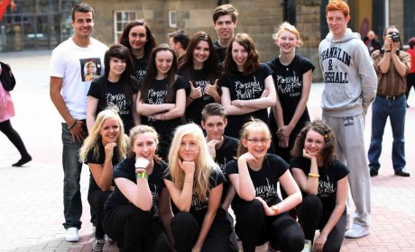 Famous 4.15 dance class with the wonderful Steven Taylor from Newcastle United, after winning The Journal's Big Dance Live competition/ Dance City/ North East/ Quayside