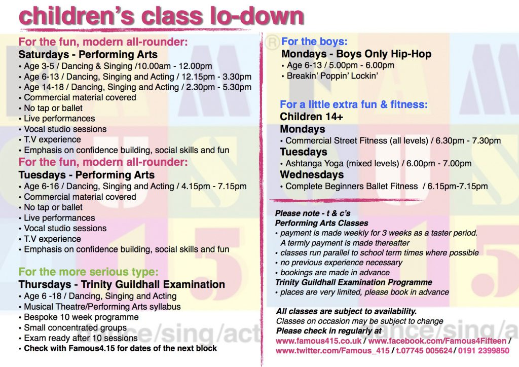 children, classes, sing, dance, act, jesmond, newcastle, tv, film, theatre, boys, girls, shows, fun, fitness, exams