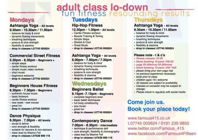 Adult Timetable Summer