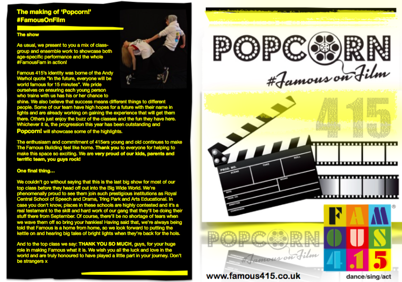 Famous4.15 presents Popcorn! #FamousOnFilm singing, dancing, acting, performing, kids, 3-18years