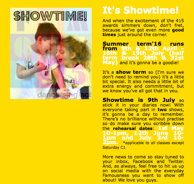 Famous4.15, Showtime, summer, term, dance , sing, act, perform,